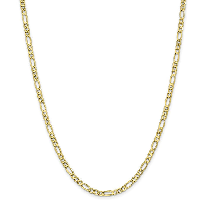 Million Charms 10k Yellow Gold, Necklace Chain, 4.4mm Semi-Solid Figaro Chain, Chain Length: 22 inches