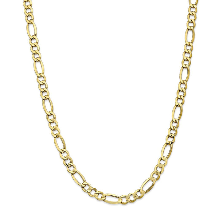 Million Charms 10k Yellow Gold, Necklace Chain, 7.3mm Semi-Solid Figaro Chain, Chain Length: 24 inches