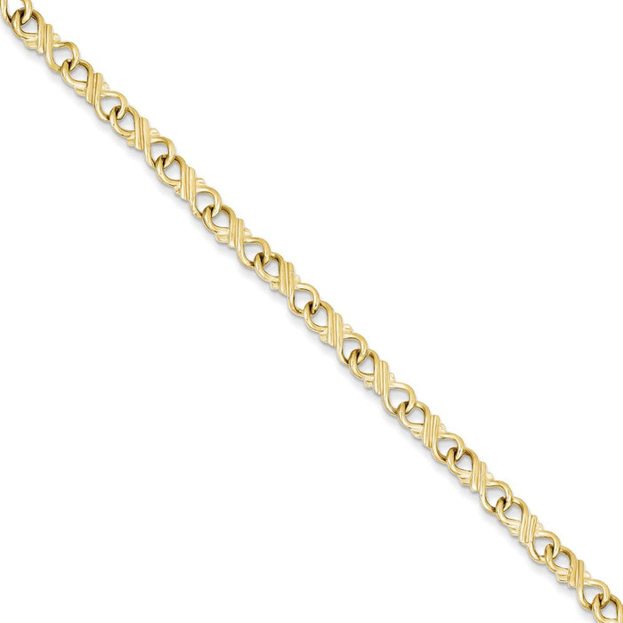 Million Charms 10k Yellow Gold Solid Polished Fancy Bracelet, Chain Length: 7 inches