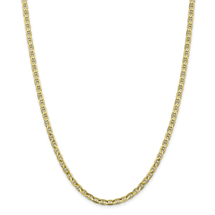 Million Charms 10k Yellow Gold, Necklace Chain, 3.75mm Concave Anchor Chain, Chain Length: 20 inches