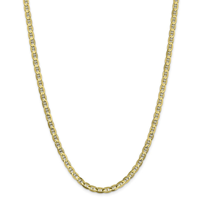 Million Charms 10k Yellow Gold, Necklace Chain, 4.5mm Concave Anchor Chain, Chain Length: 24 inches