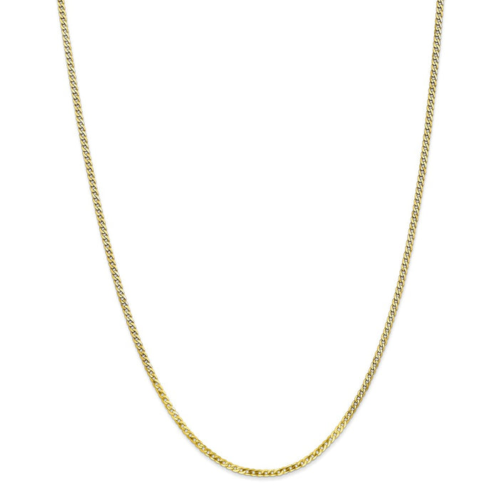 Million Charms 10k Yellow Gold 2.2mm Flat Beveled Curb Chain, Chain Length: 10 inches