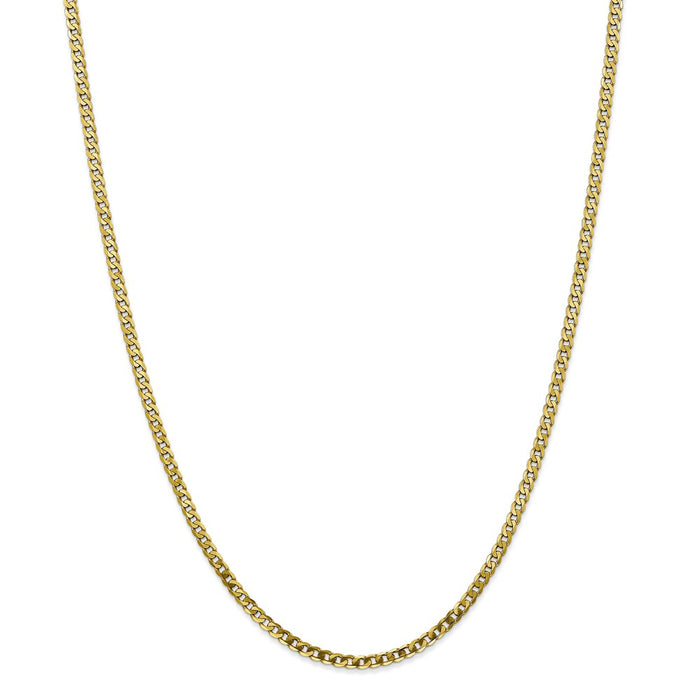 Million Charms 10k Yellow Gold, Necklace Chain, 2.9mm Flat Beveled Curb Chain, Chain Length: 24 inches
