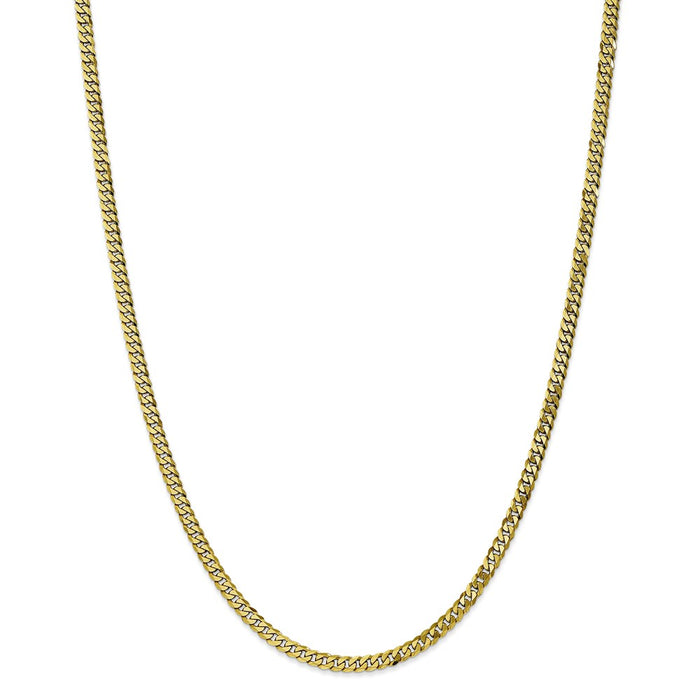 Million Charms 10k Yellow Gold, Necklace Chain, 3.2mm Flat Beveled Curb Chain, Chain Length: 24 inches
