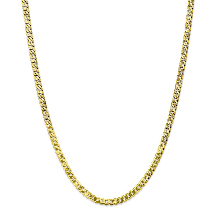 Million Charms 10k Yellow Gold, Necklace Chain, 4.75mm Flat Beveled Curb Chain, Chain Length: 24 inches