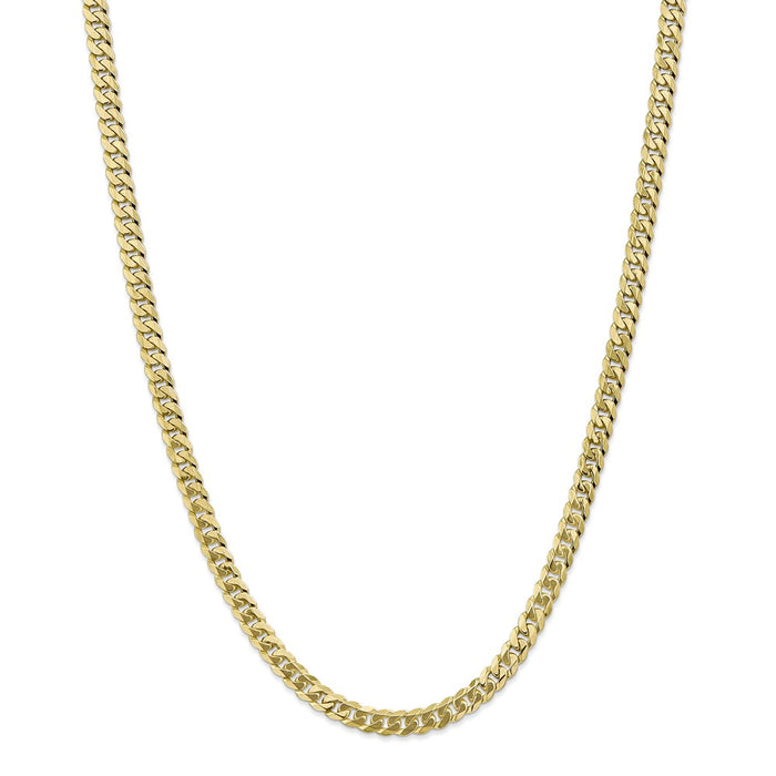Million Charms 10k Yellow Gold, Necklace Chain, 5.75mm Flat Beveled Curb Chain, Chain Length: 24 inches