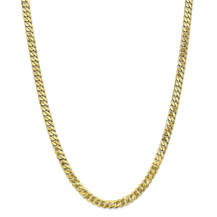 Million Charms 10k Yellow Gold, Necklace Chain, 6.25mm Flat Beveled Curb Chain, Chain Length: 24 inches