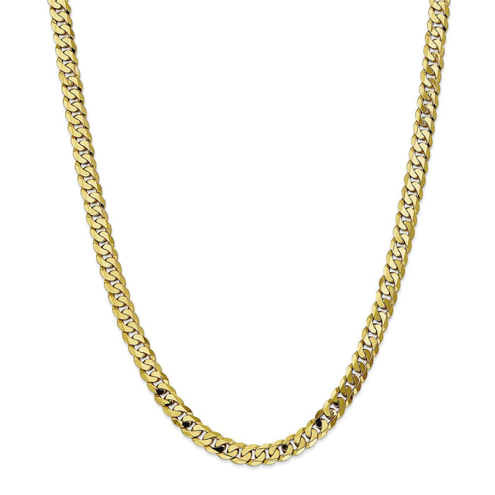 Million Charms 10k Yellow Gold, Necklace Chain, 6.75mm Flat Beveled Curb Chain, Chain Length: 24 inches