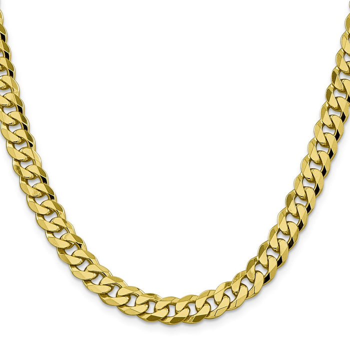 Million Charms 10k Yellow Gold, Necklace Chain, 8.25mm Flat Beveled Curb Chain, Chain Length: 24 inches