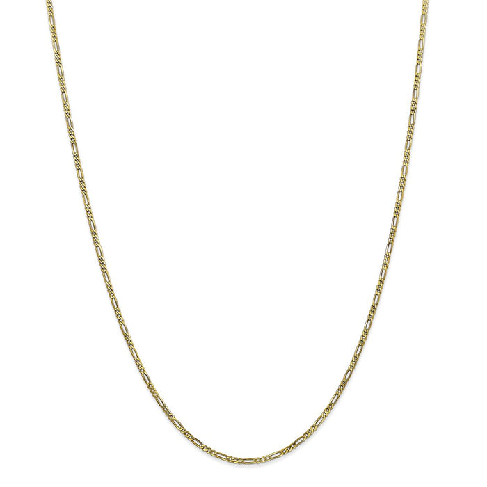 Million Charms 10k Yellow Gold, Necklace Chain, 1.75mm Polished Figaro Chain, Chain Length: 24 inches