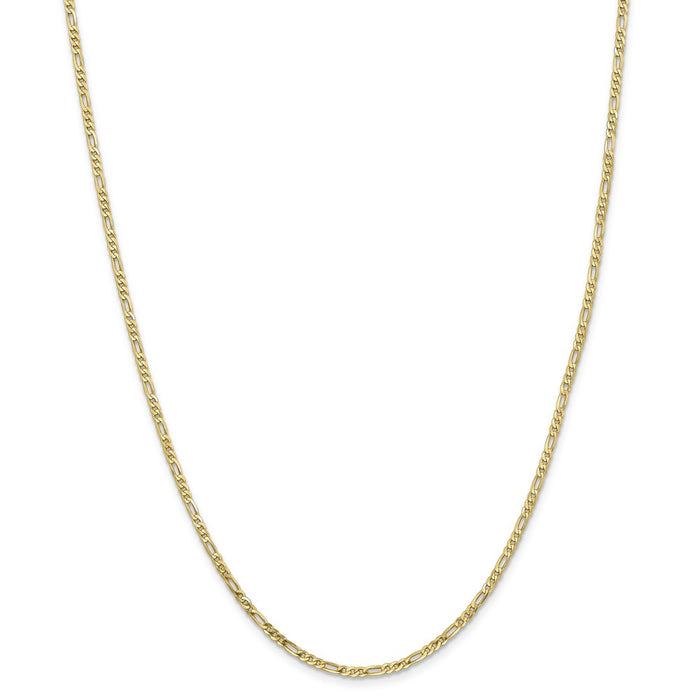 Million Charms 10k Yellow Gold, Necklace Chain, 2.2mm Figaro Link Chain, Chain Length: 24 inches