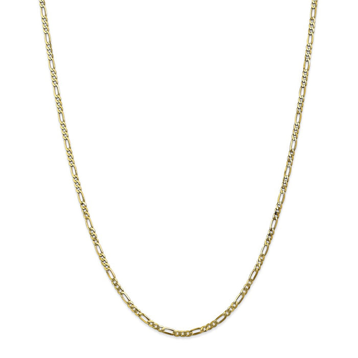 Million Charms 10k Yellow Gold, Necklace Chain, 2.75mm Flat Figaro Chain, Chain Length: 20 inches