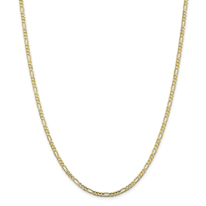 Million Charms 10k Yellow Gold, Necklace Chain, 3.0mm Concave Figaro Chain, Chain Length: 16 inches