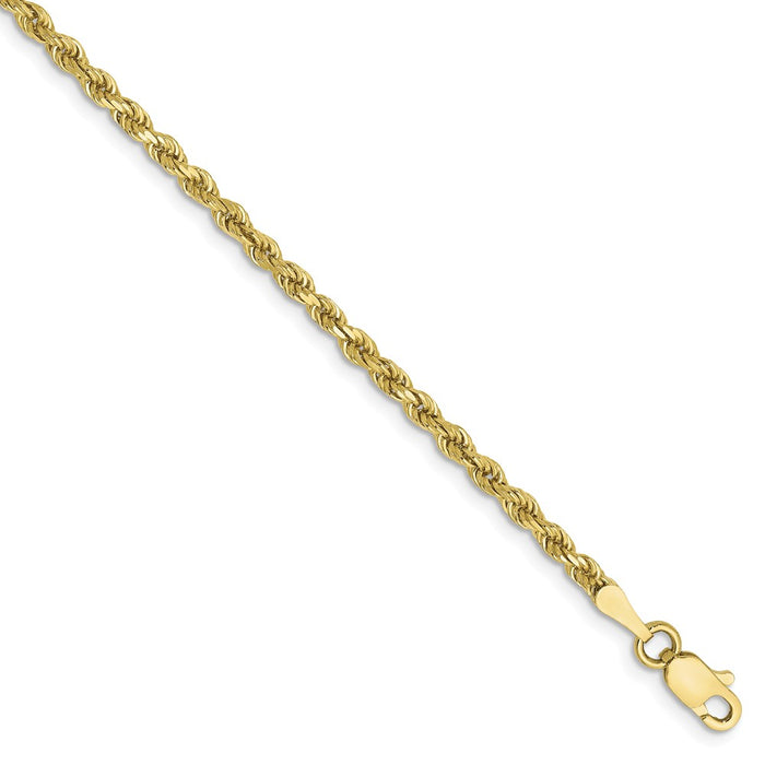Million Charms 10k Yellow Gold 2.25mm Diamond-cut Rope Chain, Chain Length: 7 inches