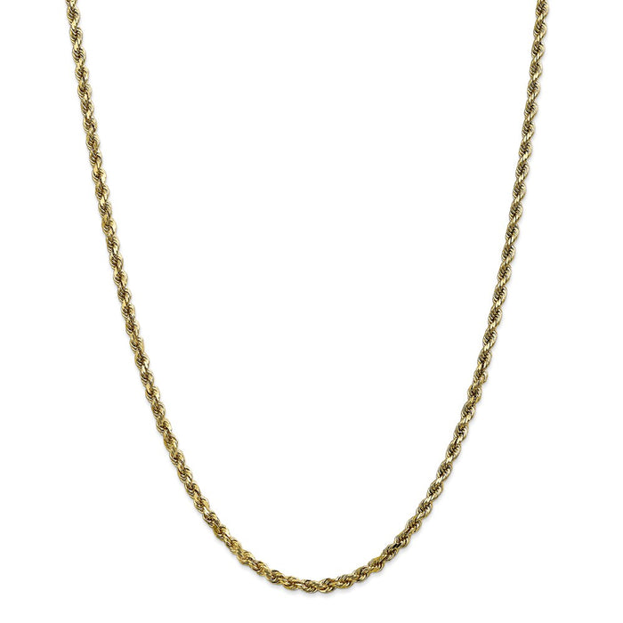 Million Charms 10k Yellow Gold, Necklace Chain, 3.5mm Diamond-cut Rope Chain, Chain Length: 28 inches