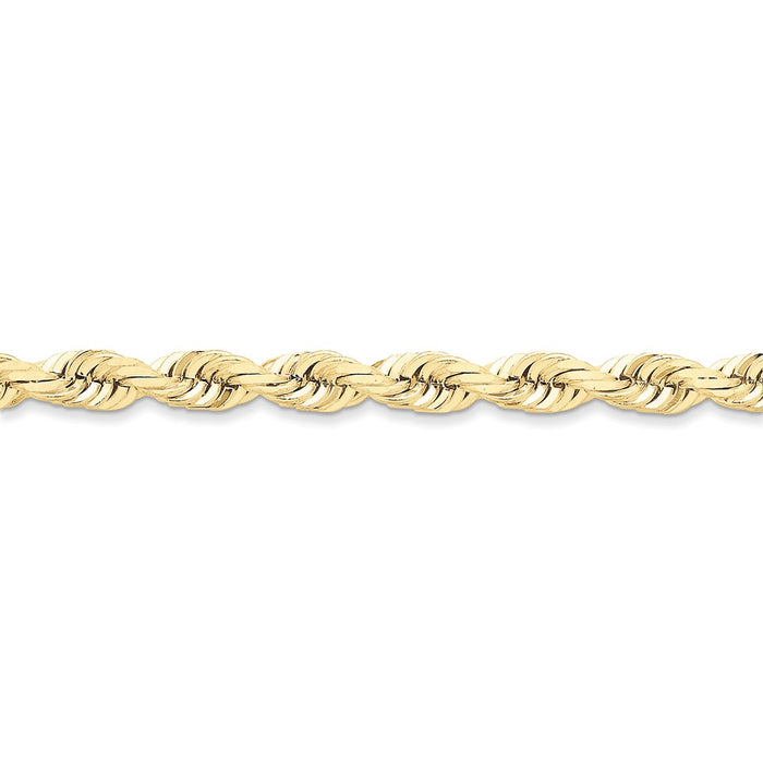 Million Charms 10k Yellow Gold 7mm Diamond-cut Rope Chain, Chain Length: 8 inches