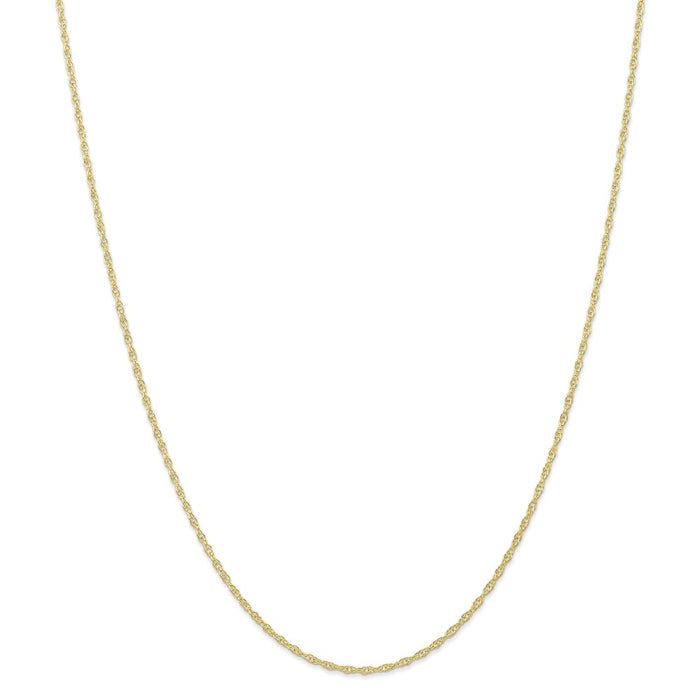 Million Charms 10k Yellow Gold, Necklace Chain, 1.35mm Carded Cable Rope Chain, Chain Length: 20 inches
