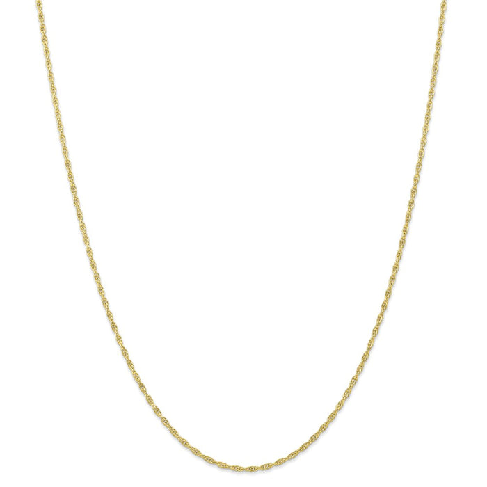 Million Charms 10k Yellow Gold, Necklace Chain, 1.55mm Carded Cable Rope Chain, Chain Length: 18 inches