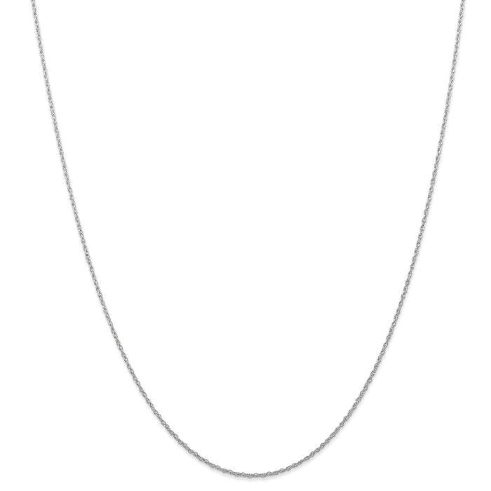 Million Charms 10k White Gold, Necklace Chain, Carded Rhodium-plated 0.70mm Rope Chain, Chain Length: 24 inches
