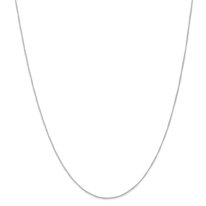 Million Charms 10k White Gold, Necklace Chain, .5 mm Carded Curb Chain, Chain Length: 24 inches