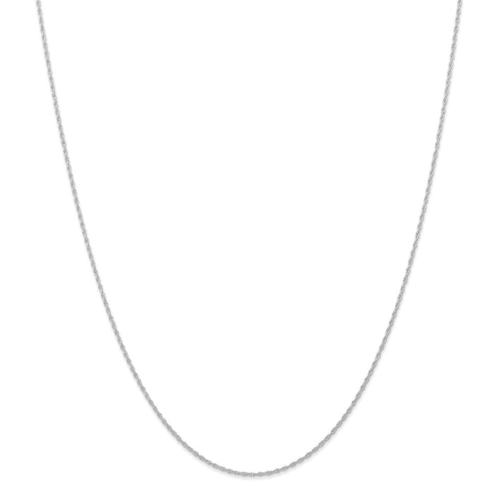 Million Charms 10k White Gold, Necklace Chain, .95 mm Carded Cable Rope Chain, Chain Length: 18 inches