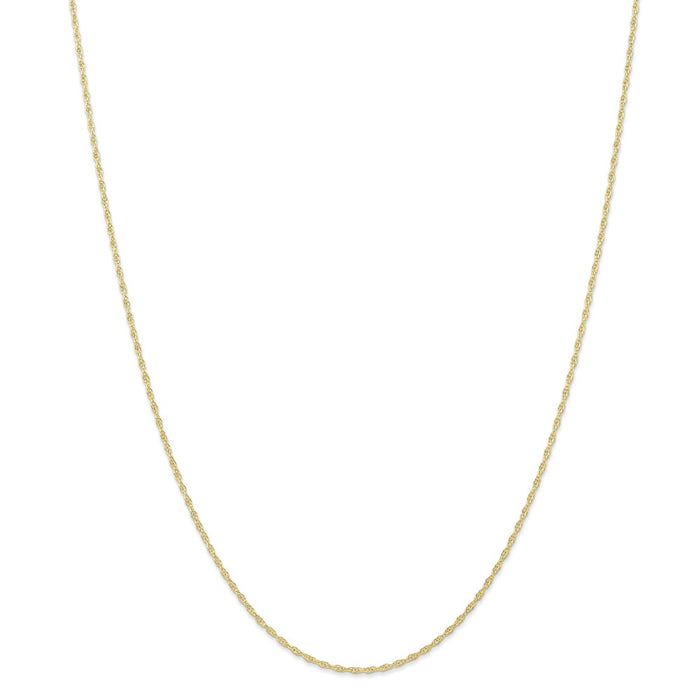 Million Charms 10k Yellow Gold, Necklace Chain, 1.15mm Carded Cable Rope Chain, Chain Length: 20 inches