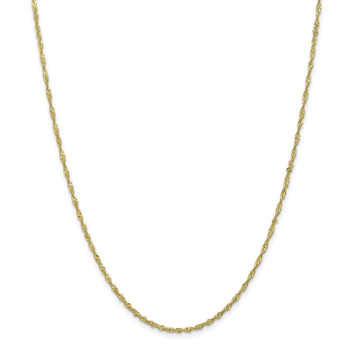 Million Charms 10k Yellow Gold, Necklace Chain, 1.7mm Singapore Chain, Chain Length: 30 inches