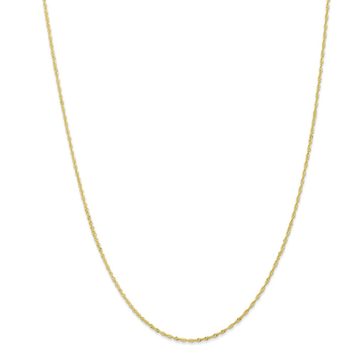 Million Charms 10k Yellow Gold, Necklace Chain, 1.10mm Singapore Chain, Chain Length: 18 inches
