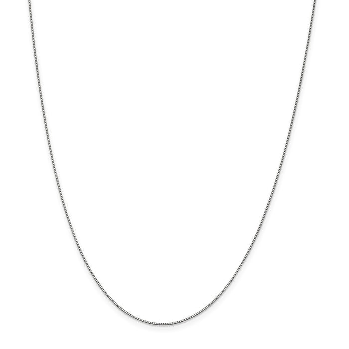 Million Charms 10K White Gold, Necklace Chain, .7mm Box Chain, Chain Length: 16 inches