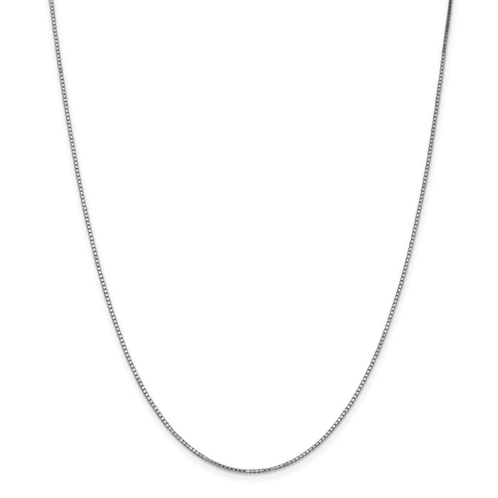 Million Charms 10k White Gold, Necklace Chain, 1.1mm Box Chain, Chain Length: 20 inches