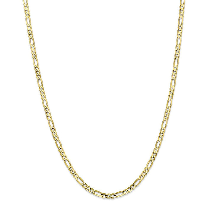 Million Charms 10k Yellow Gold, Necklace Chain, 4mm Light Concave Figaro Chain, Chain Length: 26 inches