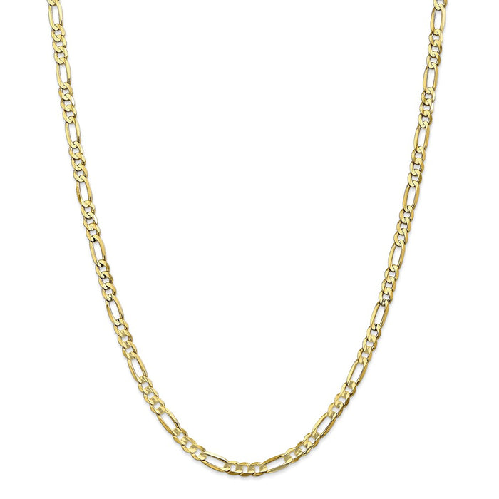 Million Charms 10k Yellow Gold, Necklace Chain, 4.5mm Light Concave Figaro Chain, Chain Length: 26 inches