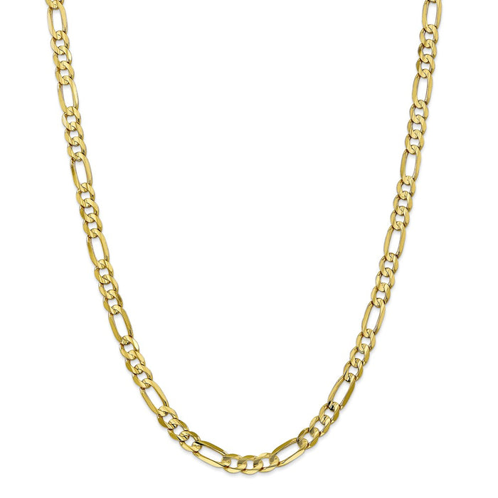 Million Charms 10k Yellow Gold, Necklace Chain, 6mm Light Concave Figaro Chain, Chain Length: 26 inches