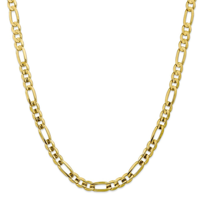 Million Charms 10k Yellow Gold, Necklace Chain, 7.5mm Light Concave Figaro Chain, Chain Length: 24 inches