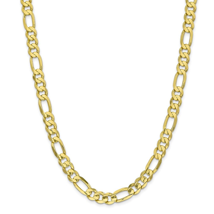 Million Charms 10k Yellow Gold, Necklace Chain, 8.75mm Light Concave Figaro Chain, Chain Length: 26 inches