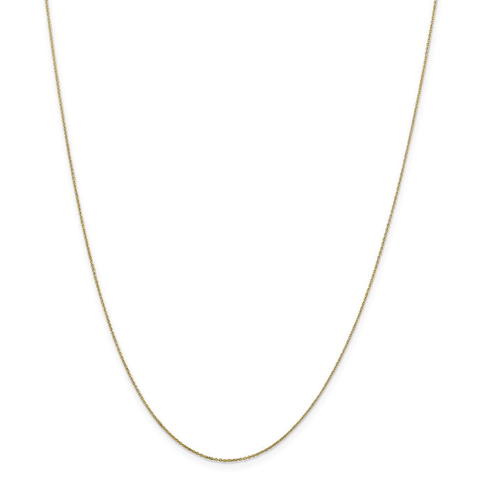 Million Charms 10k Yellow Gold, Necklace Chain, .6mm Solid Diamond-Cut Cable Chain, Chain Length: 14 inches