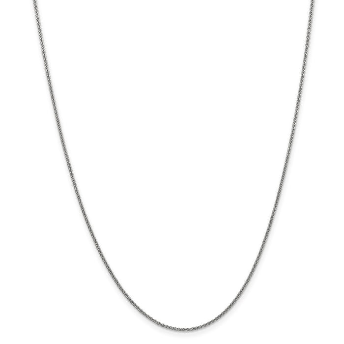 Million Charms 10k White Gold, Necklace Chain, 1.5mm Solid Polished Cable Chain, Chain Length: 24 inches