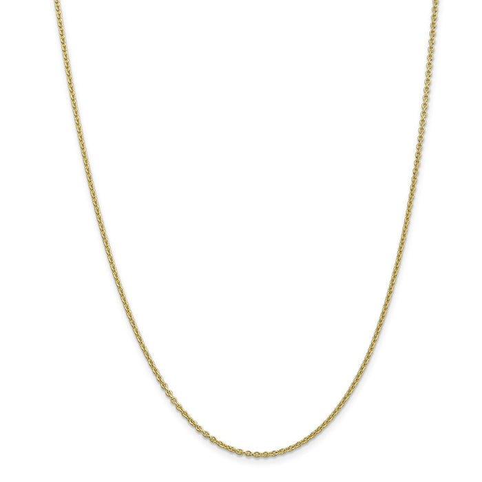 Million Charms 10k Yellow Gold, Necklace Chain, 2mm Solid Polished Cable Chain, Chain Length: 24 inches