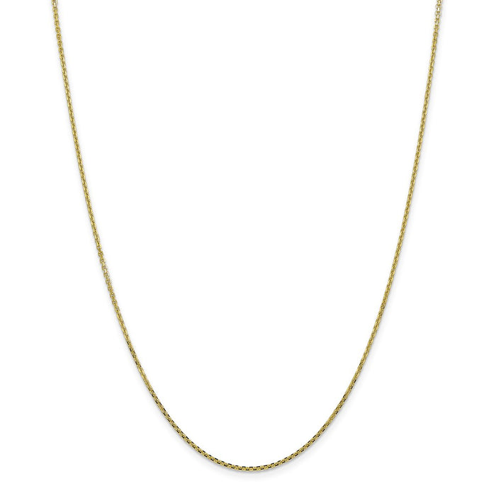 Million Charms 10k Yellow Gold, Necklace Chain, 1.3mm Solid Diamond-Cut Cable Chain, Chain Length: 24 inches