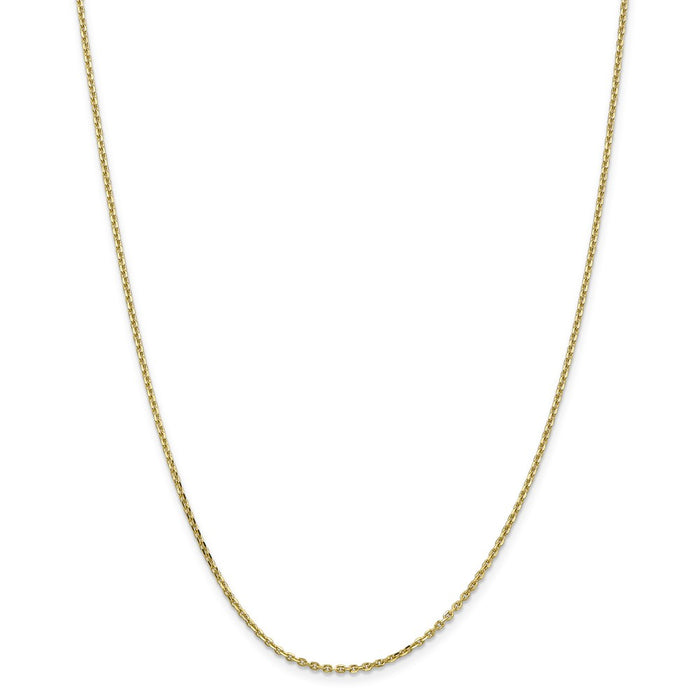 Million Charms 10k Yellow Gold, Necklace Chain, 1.65mm Solid Diamond-Cut Cable Chain, Chain Length: 20 inches