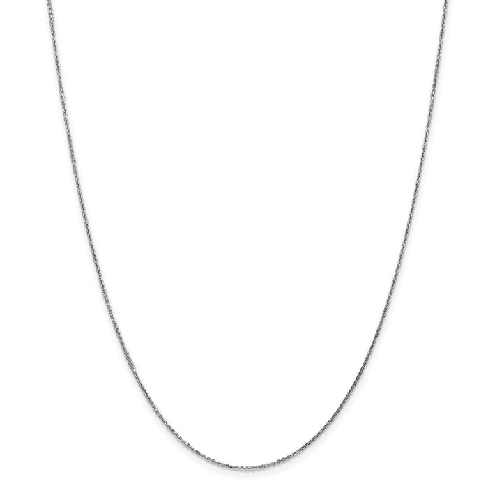 Million Charms 10k White Gold, Necklace Chain, .95mm Solid Diamond-Cut Cable Chain, Chain Length: 24 inches