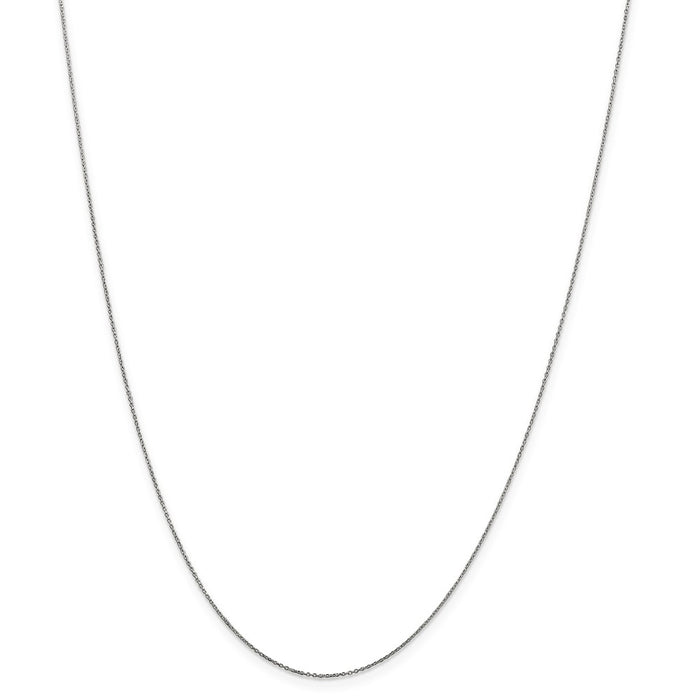 Million Charms 10k White Gold, Necklace Chain, .6mm Solid Diamond-Cut Cable Chain, Chain Length: 14 inches