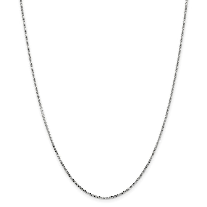 Million Charms 10k White Gold, Necklace Chain, 1.3mm Solid Diamond-Cut Cable Chain, Chain Length: 18 inches