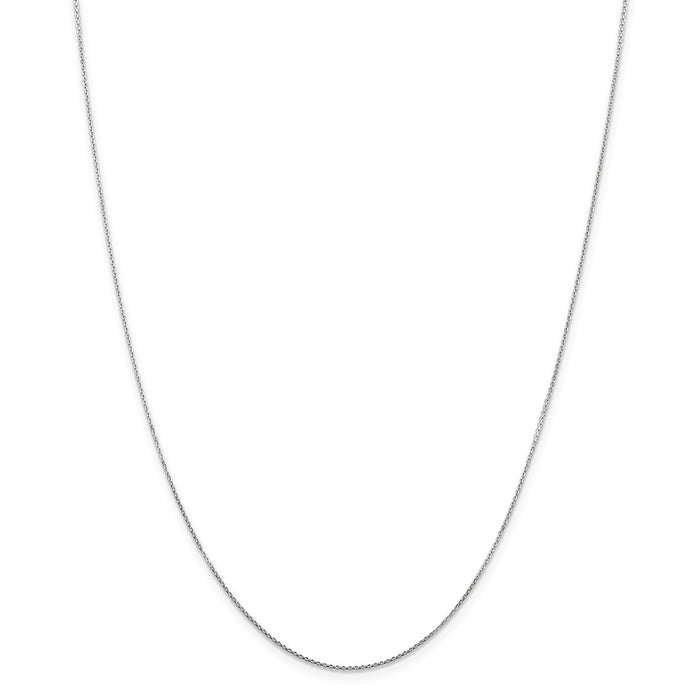 Million Charms 10k White Gold, Necklace Chain, .80mm Diamond-Cut Cable Chain, Chain Length: 24 inches