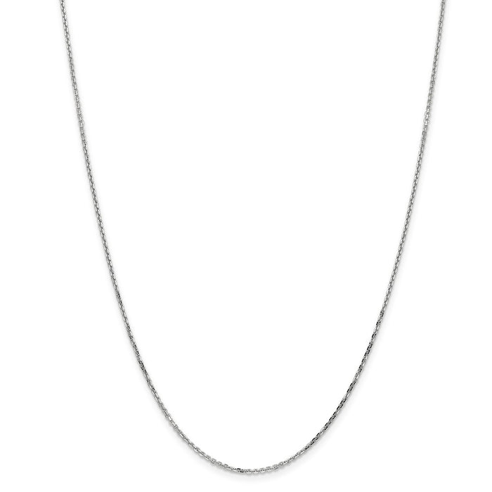 Million Charms 10k White Gold, Necklace Chain, 1.40mm Diamond-Cut Cable Chain, Chain Length: 16 inches