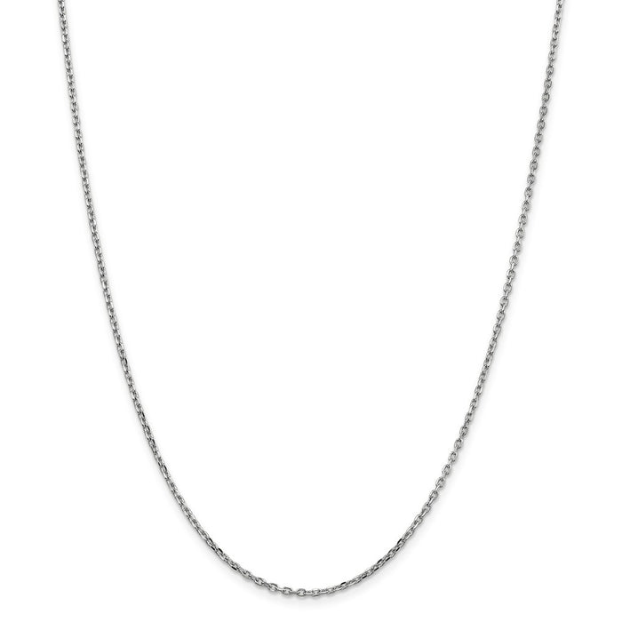 Million Charms 10k White Gold, Necklace Chain, 1.8mm Diamond-Cut Cable Chain, Chain Length: 24 inches