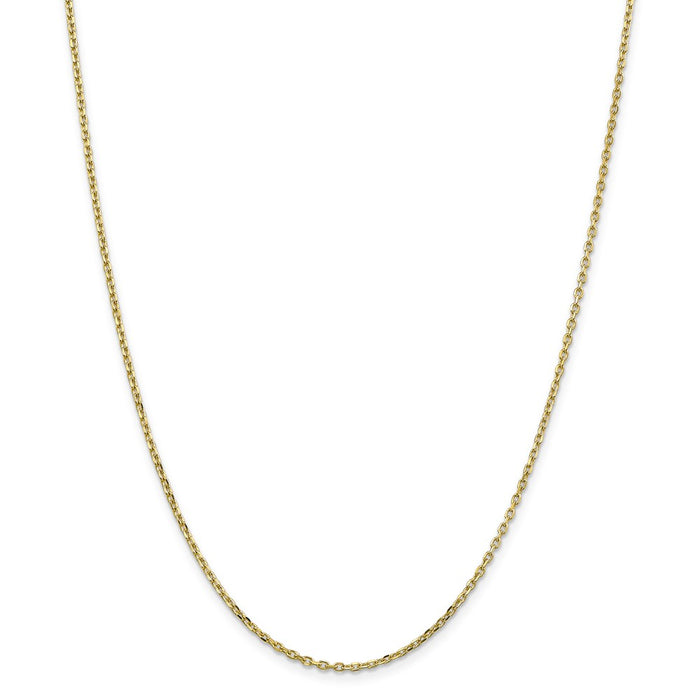 Million Charms 10k Yellow Gold, Necklace Chain, 1.8mm Diamond-Cut Cable Chain, Chain Length: 24 inches