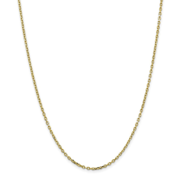 Million Charms 10k Yellow Gold, Necklace Chain, 2.2mm Diamond-Cut Cable Chain, Chain Length: 20 inches