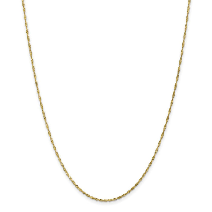 Million Charms 10k Yellow Gold 1.4mm Singapore Chain Anklet, Chain Length: 10 inches