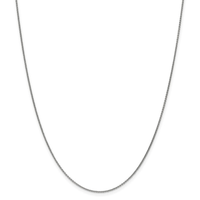 Million Charms 10k White Gold, Necklace Chain, 1mm Polished Cable Chain, Chain Length: 24 inches